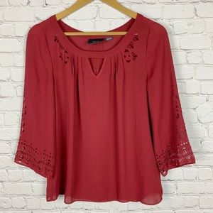 MAEVE by ANTHROPOLOGIE Laser Cut Red Blouse 2